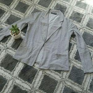 Chic Open Front Striped Blazer